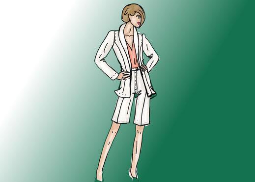 Bei Bermudas, im Büro lieber auf uni und geschlossene Schuhe setzen. Luftige  und weite Passformen verleihen der Bermuda einen femininen Touch.