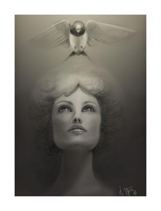 Elle . Dessin realisé au crayon puis numérisé.  Prix de la Municipalité au Salon d'automne 2014 d'Ozoir la ferrière.