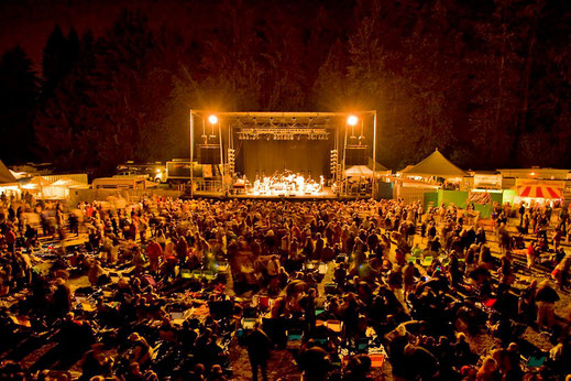 Night scene showing the audience and stage at Comox Valley music festival.