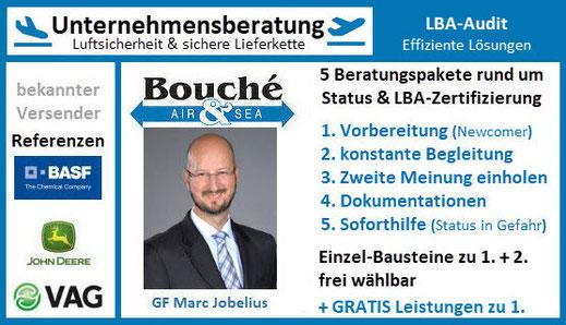 Bild: Visitenkarte GF Marc Jobelius | Unternehmensberatung Luftsicherheit Bouché Air & Sea GmbH