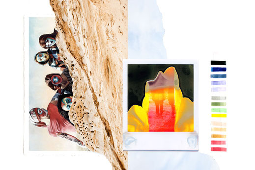 apollo-artemis, mode, design, nachhaltig, handgemacht, kollektion, ikarus, collage, colors, broken polaroid, sand
