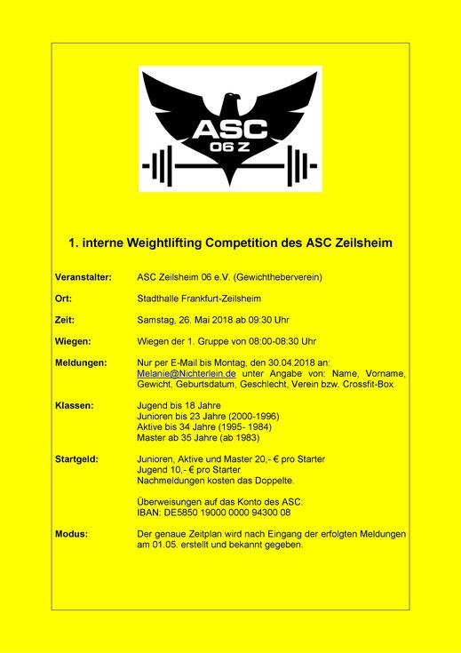Ausschreibung 1. interne Weightlifting Competition des ASC Zeilsheim