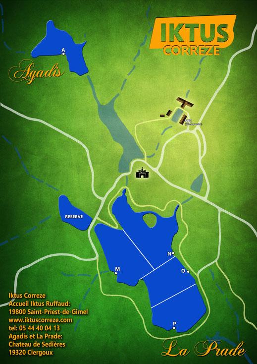 plan de l'étang de La Prade.