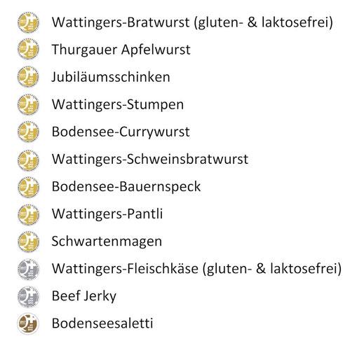 Medaillenspiegel der Ochsen Metzgerei Wattinger