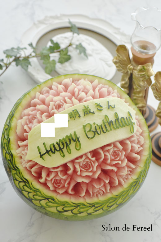 カービング スイカ 彫刻 誕生日 結婚式 メロン フルーツカービング 教室 大阪 薔薇 ソープカービング プレゼント オーダー ウェルカムボード お祝い