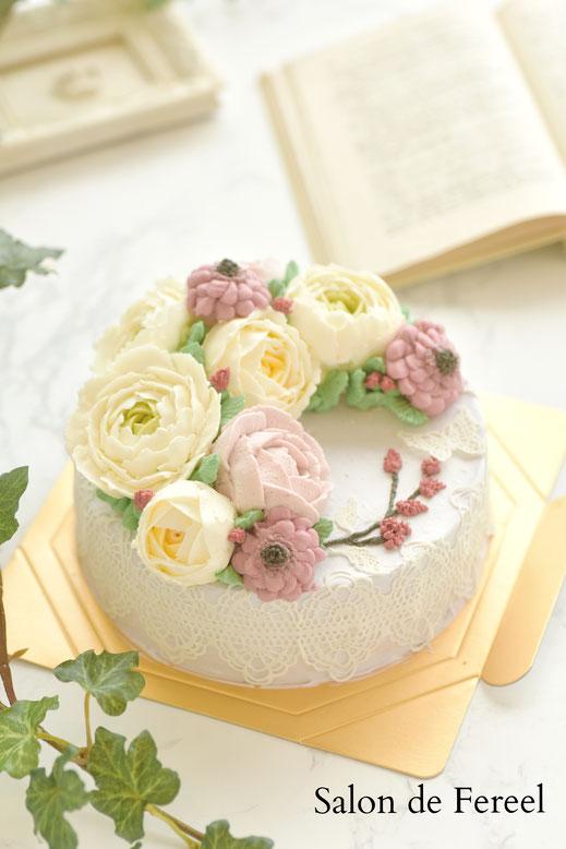フラワーケーキ  大阪 ケーキ 教室 習い事 スイーツ 田中聖子 ケーキ教室