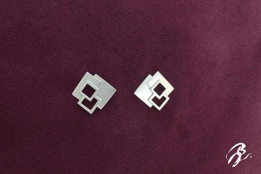 boucles d'oreilles argent carré