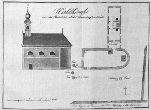 Aus einem Buch von Heinrich Güttenberger wissen wir, wie die Wallfahrtskirche samt angebauter Einsiedelei aussah