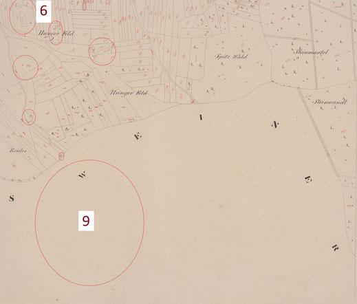 """Der beschriebene Standort der Kirche St. Kilian (6) und weitere untypische und """"öde"""" bezeichnete Parzellen von 1822. Unmittelbar angrenzend ist die wieder entdeckte Ortschaft Krales (9). Die Felder nordwestlich davon bilden noch heute die Flur Krales."""
