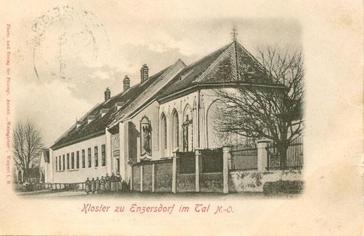 Kloster mit Nonnen: Motiv aus alter Ansichtskarte