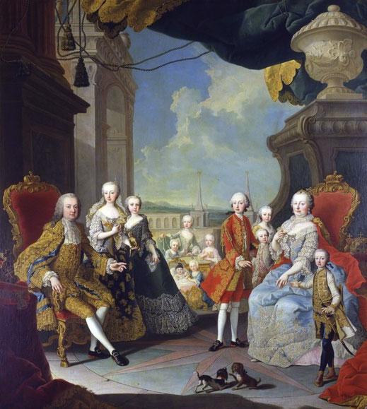Maria Theresia von Österreich und Franz Stephan von Lothringen im Kreise ihrer Kinder. Der zukünftige JosephII. steht mitten im Stern. Das Bild stammt von Martin van Meytens um 1755 und ist in Schloss Schönbrunn zu sehen. Quelle: wikimedia