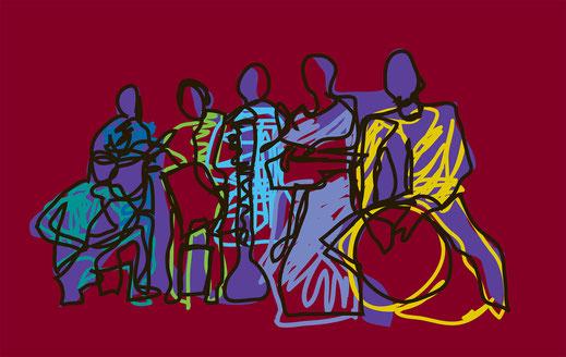 Groupe de jazz a la façon Jean-Claude Le Gall - esquisse numérique