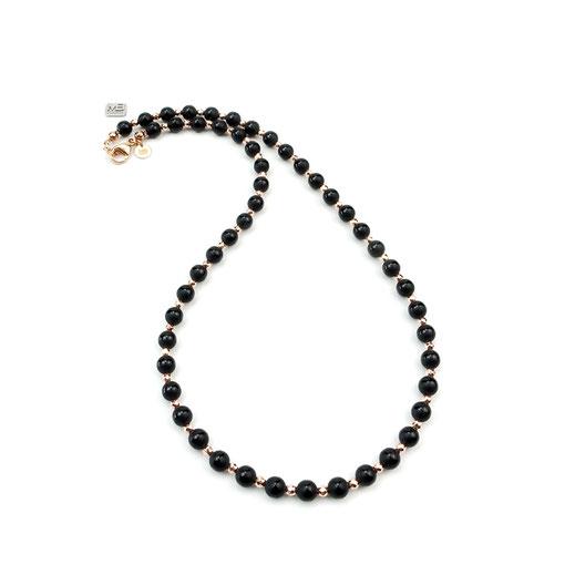 Halskette, Damenhalskette, Onyxperlen matt und handgefertigt, Hämatit rosé