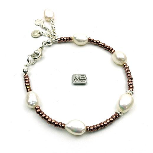 Damenarmband, Rocailles bronzefarben, Süßwasserzuchtperlen, Silber 925