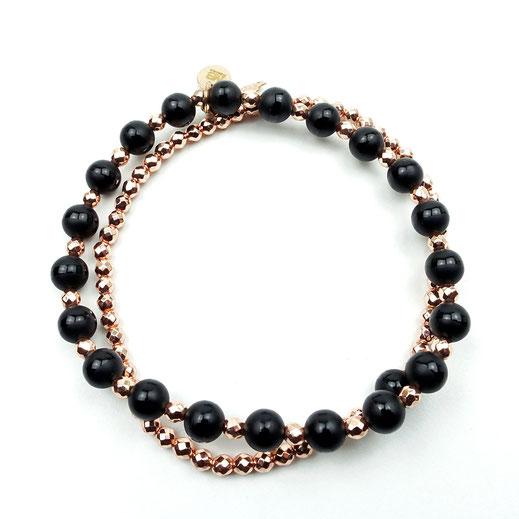 Damen-Armband-Set,Onyx, Hämatitperlen roséfarben