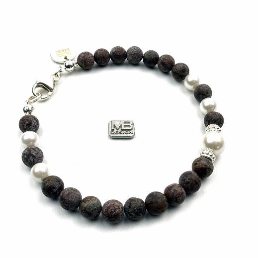 Damen-Armband aus Achate dunkelbraun, Muschelkernperlen, Echtsilberperlen