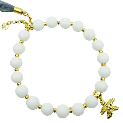 86544622847 Damen-Armband aus Jadeperlen weiß, JRocailles, Seesern Silber 925, Quaste