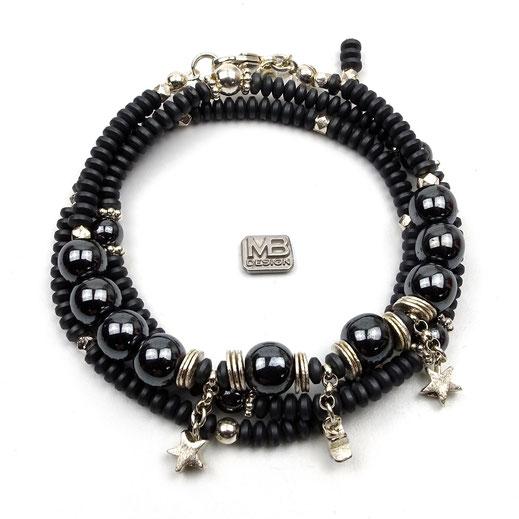 Damen-Armband-Set, Hämatit dunkelgrau, Anhänger Stern Silber 925