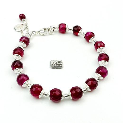 Damen-Armband, Achate beerenfarben. Sterlingsilber