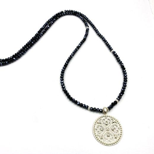 Halskette lang, Kristalle dunkelblau, lMandalaanhänger, Silber 925
