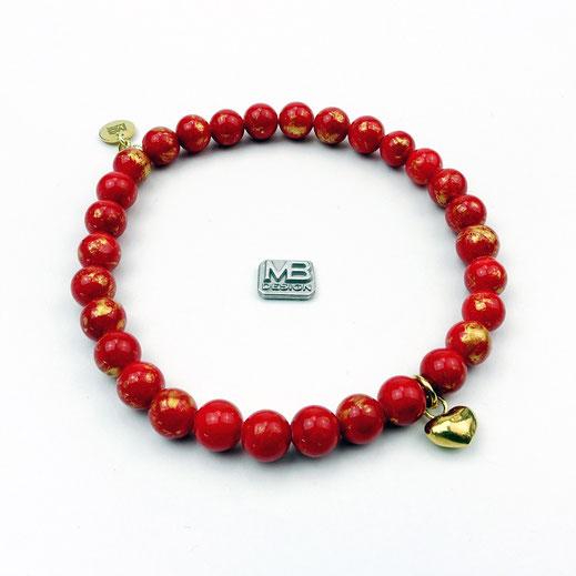 Damen-Armband Jade rot-gold mit Herz-Anhänger aus Silber 925 vergoldet