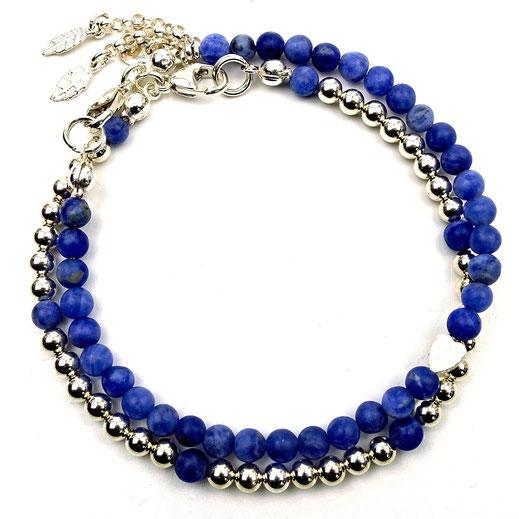 Damen-Armband-Set,2-teilig, dunkelblau, Sodalith, Silber 925