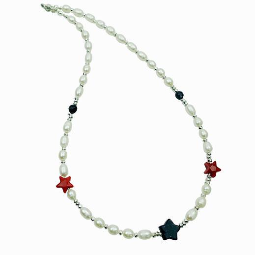 Lange Halskette, Süßwasserzuchtperlen, Rocailles, Hämatit, 24 Karat vergoldet