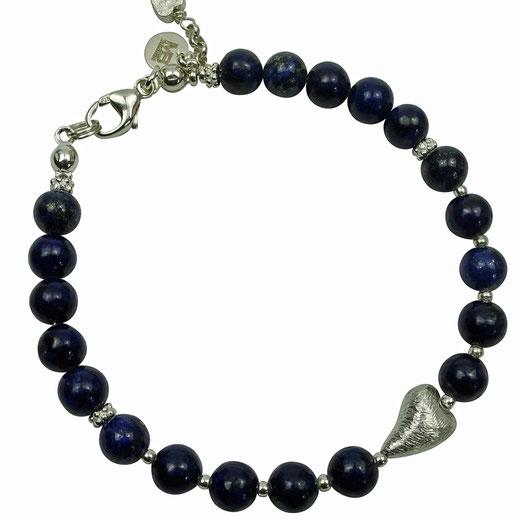 Exklusives Damen-Armband Lapislazuli-Scheiben, SilberperlenS terlingsilber