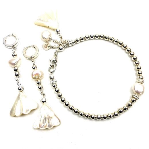 Schmuck-Set Armband und Ohrringe, Silber 925, Süßwasserzuchtperle, Perlmuttmuschell
