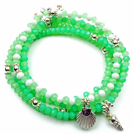 Damen-Armband-Set, Glaskritalle gün, weiß, Zwischenperlen und Anhänger Sterlingsilber