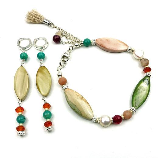 86544621826 Schmuckset Armband mit Ohrringe, Mondstein, Süßwasserzuchtperlen, Jaspis-Navette, Perlmutt-Navette, Carneol, Amazonit