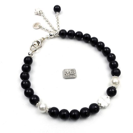 Damen-Armband Onyx Muschelkernperlen Kleeblatt Siler 925