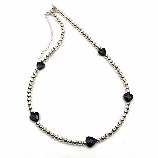Halskette Silberperlen, Onyxherzen facettiert, EAN 86544621352