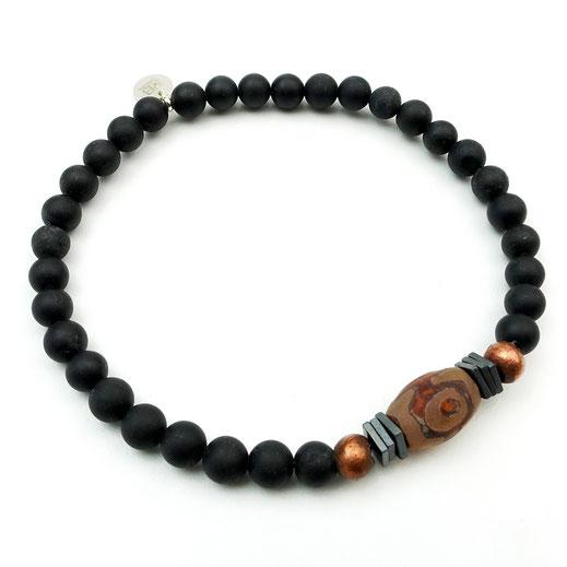 Männer-Armband Onyx mit einer länglichen Achatperle