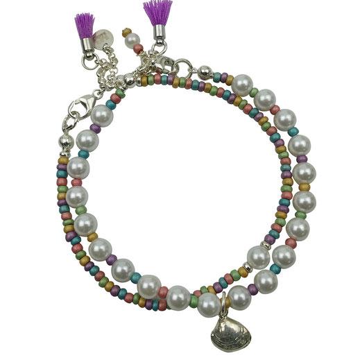 Damenarmband-Set, Muschelkernperlen, Rocailles pastellfarben, Silber 925