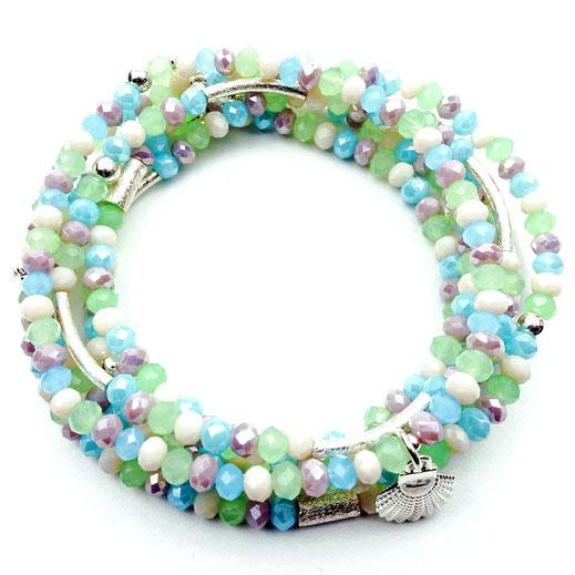 Damen-Armband-Set, Glaskritalle gün, weiß, Pastell, Zwischenperlen und Anhänger Sterlingsilber