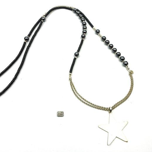 Halskette, Damen, , Hämatit, Silber 925, Anhänger Stern