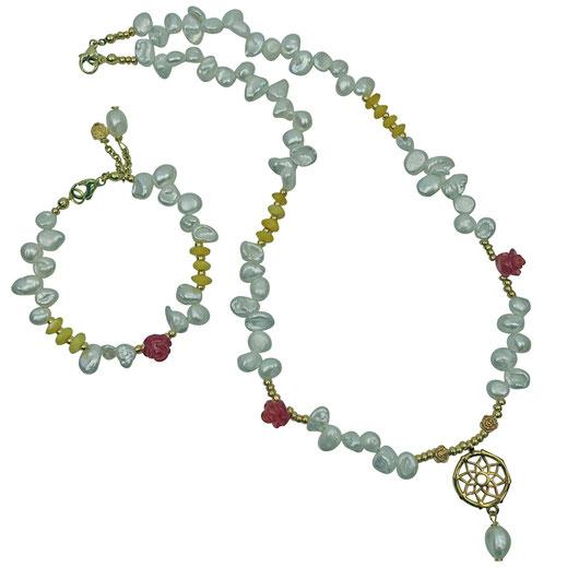 Schmuckset Halskette und Armband Kristalle dunkelblau, Muschelkernperlen