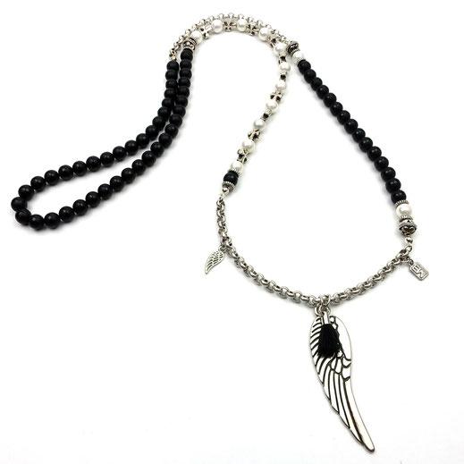 Halskette, Damenhalskette, Onyxperlen matt und glänzend, handgefertigt, Muschelkernperlen und DQ-Ketten