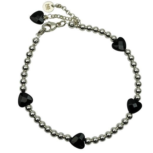 Damen-Armband Sterlingsilber mit Onyx-Herzen facettiert
