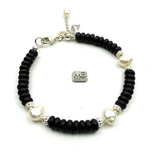 Damen-Armband, Onyx , Süßwasserzuchtperlen, Sterlingsilberperlen