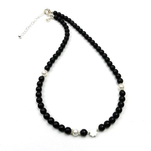 Halskette, Damenhalskette, Onyxperlen matt, Glücks-Kleeblatt Silber 925, Verlängerungskette