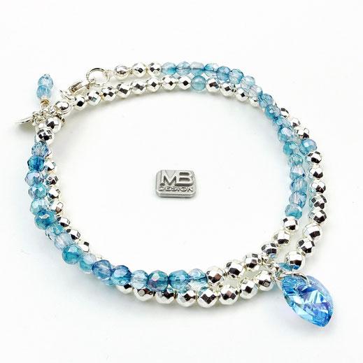 Damen-Armband-Set, hellblau, Bergkristall Silber 925