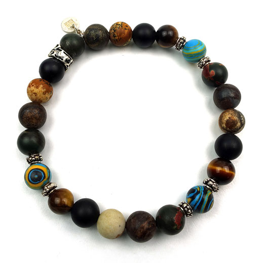 Männerarmband, Jaspis, Tigerauge, Onyx, Silberperlen