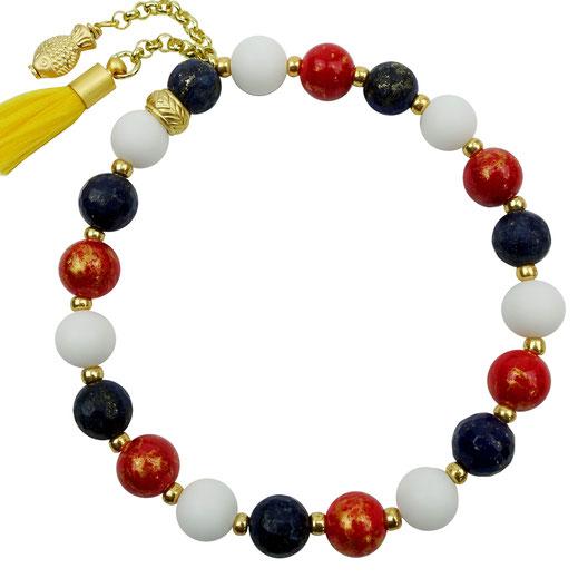86544623080 Jade weiß, rot, Lapislazuli blau, goldfarben, Quaste, Fisch