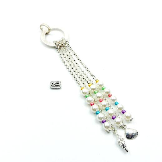 Schmuckanhänger, Muschelkernperlen, Rocailles pastellfarben, Silber 925