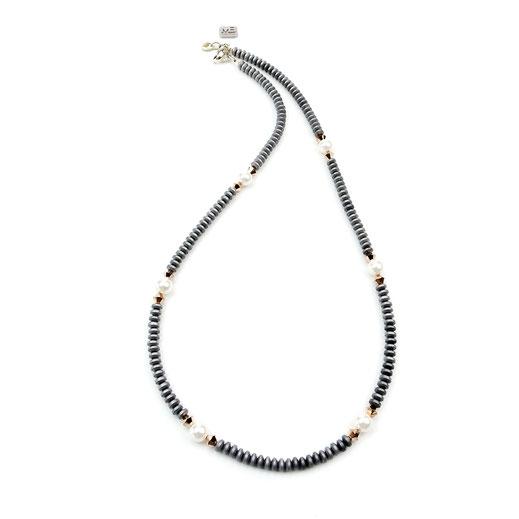 Halskette, Damen, , Hämatit, Krisall, Muschelkernperlen, Silber 925