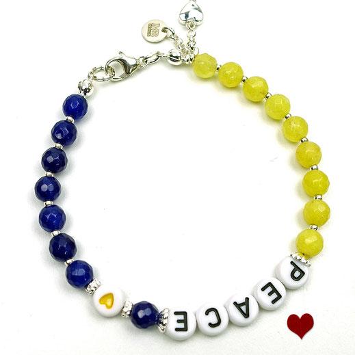 86544622724 Damen-Armband aus Jadeperlen weiß mit Swarovskibicons gelb-orange-blau, Quastete