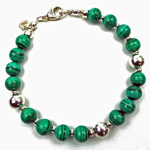 86544623127 Männer-Armband aus Malachitperlen mit Silberzwischenperlen