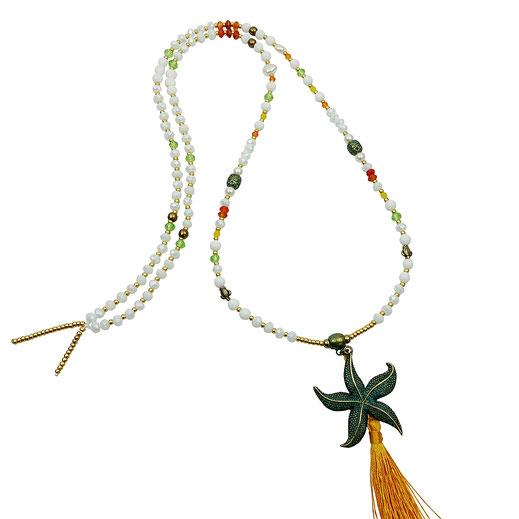 86544622670 Halskette lang, Kristalle, Jade, Carnoel, großer Seesternanhänger